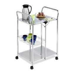 Deluxe Foldable Push Cart - chrome folding utility table, assembled size 38.5in h x 25.5in w x 20in d. comes assembled, just put casters on. 17 lbs. durable construction. folds to 5in flat, easy to move casters, 2-locking.