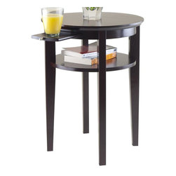 Winsome Wood - Round End Table in Espresso Finish - Includes pull out tray. Ample storage. One shelf. Made from solid and composite wood. Assembly required. Shelf: 12.99 in.. Tray: 5.51 in. W x 11.42 in. D. Tray pull out: 8.03 in.. Shelf clearance: 4.76 in.. Ground clearance to shelf: 15.27 in.. Overall: 17.72 in. Dia. x 23 in. H