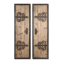 Uttermost - Abelardo Rustic Wood Panels Set of 2 - These oversized, decorative wall panels are made of lightly stained rustic wood with wrought iron metal details.