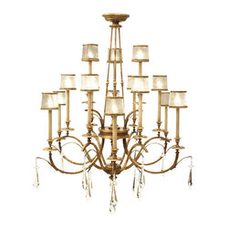 Fine Art Lamps - Monte Carlo Chandelier, 567740ST - Go for grandeur in your favorite formal setting with this extraordinary piece. Swirled crystal shades in gilded frames and brilliant crystal drops catch the eye while the gently worn gold-leaf finish evokes subtlety.