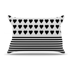 Kess InHouse - Project M 'Heart Stripes Black and White' Monochrome Lines Pillow Case, Standard - This pillowcase, is just as bunny soft as the Kess InHouse duvet. It's made of microfiber velvety fleece. This machine washable fleece pillow case is the perfect accent to any duvet. Be your Bed's Curator.