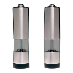 Berghoff - Berghoff Geminis Electronic Salt & Pepper Mill - 18/10 stainless steel electric salt and pepper mill. Battery powered (4) AAA-Batteries, not included. The rubber underside serves as a an anti-skid layer to provide you with more stability.
