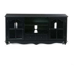 "Holly & Martin - Holly & Martin Roosevelt Large TV Console, Antique Black - Finished in antique black, this media center utilizes two large open shelves in the middle above one large drawer to fit electronics and media equipment. There are window paned cabinet doors on either side housing one adjustable shelf each. The top of this piece measures 52"" wide by 16"" deep making it capable of holding a wide range of TV's and equipment. With so much space and the distressed antique style it is sure to bring form and function into your home. The doors of the cabinets have glass windows and magnetic latches."