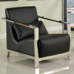 "Whiteline - Erika Armchair in Black - Erika Armchair; Black leather chair with stainless steel frame and armrests; Comfort pillow for additional lumbar support.; Color: Black; Primary Material: Leather/Stainless Steel; Assembly not required; Weight: 60 lbs; Dimensions: 26""L x 35""W x 30""H"