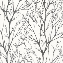 Brewster Home Fashions - Delamere Black Tree Branches Wallpaper Bolt - Bring black and white detail to your bath space with this enchanting wallpaper of a flourishing forest scene atop a chic glistening canvas.