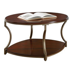 "Steve Silver Furniture - Steve Silver Maryland Cocktail Table in Medium Cherry - Cocktail Table in Medium Cherry belongs to Maryland Collection by Steve Silver The Maryland round cocktail table completes your d?cor with style and elegance.  Birch veneer tops and shelves in a rich medium cherry finish are accented by the pewter look curved legs and frames.  A durable powder coat metal finish protects from rust and scratches. The Maryland round cocktail table is 36"" x 36"" x 20"".  Cocktail Table (1)"