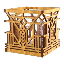"""Lightwave Laser - Frank Lloyd Wright Lake Geneva Design Hardwood Votive - This beautiful new Frank Lloyd Wright Lake Geneva design hardwood votive is precision laser cut for quality of finish and design accuracy. The design is adapted from a tulip window design that Wright created for the Lake Geneva Hotel, Lake Geneva, Wisconsin (1911, demolished 1970). It includes a glass votive holder and flameless tea light. Enjoy the understated mood lighting of a tea light without the risk of fire. Also works well as a bedside table night light. The tea light candle has an LED light source to replicate the effect of a yellow flicker flame. Battery included. Dimensions: 3.75"""" square."""