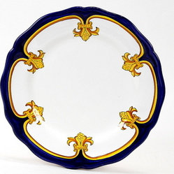 Artistica - Hand Made in Italy - GIGLIO D'ORO: Dinner Plate - GIGLIO D'ORO Collection: Another elegant dinnerware design masterfully hand painted in Deruta, Italy, featuring a fine and intricate design from the renaissance period featuring a regal yellow-gold Giglio (Lily) painstakingly countered by a royal blue solid color, a fine and intricate design exclusively available in the USA only throughout Artistica!