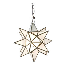 Worlds Away - Worlds Away Frosted Star Chandelier-Large - Large Frosted Glass Star Chandelier. Uses 1 - 60 watt bulb. Comes with 3' antique brass chain and canopy. Additional chain may be purchased upon request.