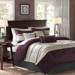 Madison Park - Madison Park Palmer 7 Piece Comforter Set - For comfort and a chic design, the Palmer bedding collection is the perfect fit. Its plum comforter is made from pieced microsuede for a soft feel while the piecing details add texture and color with their grey and brown colorways. The decorative pillows add a mix of nature-inspired leaves and simple designs to combine perfectly with this collection for a simple yet dramatic look. Comforter/Sham: 100% polyester faux suede, pieced with pintucking, 100% brushed polyester reverse, 270g/m2 polyester filling Bedskirt: 100% polyester faux suede fabric drop, polyester platform Square Pillow: 100% polyester faux suede, embroidery, polyester filling Oblong Pillow: 100% polyester faux suede, polyester filling Square Pillow: 100% polyester faux suede, pieced with pintucking, polyester filling