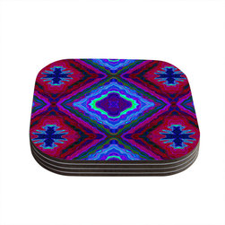 """Kess InHouse - Nina May """"Kilim"""" Coasters (Set of 4) - Now you can drink in style with this KESS InHouse coaster set. This set of 4 coasters are made from a durable compressed wood material to endure daily use with a printed gloss seal that protects the artwork so you don't have to worry about your drink sweating and ruining the art. Give your guests something to ooo and ahhh over every time they pick up their drink. Perfect for gifts, weddings, showers, birthdays and just around the house, these KESS InHouse coasters will be the talk of any and all cocktail parties you throw."""