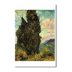 "PosterEnvy - Two Cypresses 1889 - Vincent van Gogh - Art Print POSTER - 12"" x 18"" Two Cypresses 1889 - Vincent van Gogh - Art Print POSTER on heavy duty, durable 80lb Satin paper"