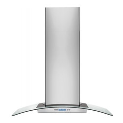 """Electrolux - Designer RH36WC60GS 36"""" Wall Mount Chimney Hood with 600 CFM Internal Blower  4 - The RH36WC60GS 36 wall mount range hood is part of Electrolux39s Designer series The halogen lighting provides ample lighting for your cooktop This range hood has electronic controls with LCD display giving it a modern look"""