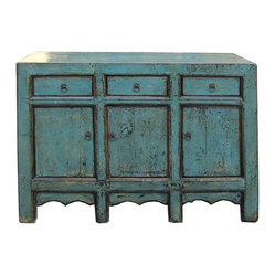 Golden Lotus - Chinese Rustic Blue Lacquer Sideboard Buffet Table - This is a simple oriental ...