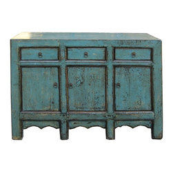 Golden Lotus - Chinese Rustic Blue Lacquer Sideboard Buffet Table - This is a simple oriental style sideboard cabinet with 3 drawers and 3 doors storage compartments which are decorated with metal Chinese style hardware. The surface is painted with modern rustic blue lacquer color.