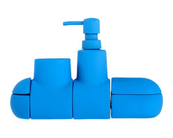 Seletti - Submarino Bathroom Set, Blue - The Submarino Bathroom Set was made by London-based designer Hector Serrano for Italian manufacturers Seletti. Connected by hidden magnets, the four-piece set of containers forms a bathroom organizer in the shape of a submarine. The whimsical design is made of porcelain and coated with rubberized paint in red, blue, or the Beatles favorite yellow. More than a youthful pop of color, the Submarino Bathroom set holds toothbrushes, soap, and cotton swabs, keeping one's essentials in a single, accessible place and reducing overall clutter. Packaged in a gift box.