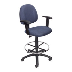 """Boss Chairs - Boss Chairs Boss Drafting Stool (B315-BE) with Footring and Adjustable Arms - Contoured back and seat help to relieve back-strain. Pneumatic gas lift seat height adjustment. Large 27"""" nylon base for greater stability. Hooded double wheel casters. Strong 20"""" diameter chrome foot ring. With adjustable arms. Available in four fabric colors. Optional glides can be used in place of casters (TU021)."""