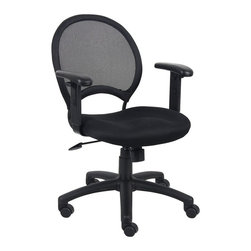 "Boss Office Products - Boss Office Mesh Back Task Chair with Adjustable Arms - Boss Office Products-Office Chairs-B6216-Open mesh back designed to prevent body heat and moisture build up. Solid metal back frame with a ballistic nylon wrap. Breathable mesh fabric seat with ample padding. Adjustable height arm rests with soft polyurethane pads. 25"" nylon base. Adjustable tilt tension control. Hooded double wheel casters. Upright locking position. Pneumatic gas lift seat height adjustment."