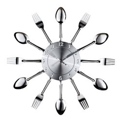 Modway Furniture - Fork and Spoon Wall Clock in Silver - - Capture the moment in bite-sized portions with this retro modern commentary on consumption. Interspersed silver-toned shimmering forks and spoons feed the senses with periodic servings of light while a sleek clock face apportions the measurements. Bring culinary expressionism to your kitchen in an eccentric exhibition of contemporary decor.  - Fabric Content: Stainless Steel, Aluminum Facing  - Overall Product Dimensions: 2L x 15W x 15H   - For Indoor Use Modway Furniture - EEI-760