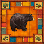 The Tile Mural Store (USA) - Tile Mural - Wilderness Bear   - Kitchen Backsplash Ideas - This beautiful artwork by Dan Morris has been digitally reproduced for tiles and depicts a framed bear.    A bear tile mural would be perfect as a part of your kitchen backsplash tile project or your tub and shower surround bathroom tile project. Bear images on tile make a great kitchen backsplash idea and are excellent to use in the bathroom too for your shower tile project. Consider a tile mural with bear pictures for any room in your home where you want to add wall tile with interest.