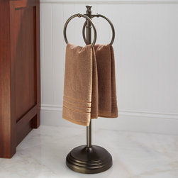 Mercer  Free Standing Towel Ring - Featuring a beautiful tiered base and two large rings, this distinguished Mercer Free Standing Towel Ring keeps bath linens organized and within easy reach.