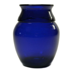 Lavish Shoestring - Consigned Bristol Blue Glass Vase, Vintage English Art Deco, Circa 1930 - This is a vintage one-of-a-kind item.