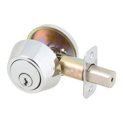 Designer's Impressions - Single-Cylinder Deadbolt (Polished Chrome) - Deadbolts are used in conjunction with exterior door knobs and door levers. A single cylinder deadbolt is operated with a key on the exterior side of the door, and a turn-tab on the inside of the door.