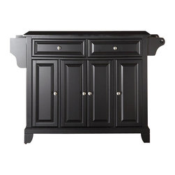 Crosley Furniture - Newport Solid Black Granite Top Kitchen Islan - Beautiful Raised Panel Doors. Brushed Nickel Hardware. Total of Three Adjustable Shelves Inside Cabinet. Spice Rack with Towel Bar. Towel Bar / Paper Towel Holder. Solid Black Granite Top. Solid Hardwood & Veneer Construction. 36 in. H x 52 in. W x 18 in. D (160.5 lbs.)Constructed of solid hardwood and wood veneers, this kitchen island is designed for longevity. The beautiful raised panel doors and drawer fronts provide the ultimate in style to dress up your kitchen. Two deep drawers are great for anything from utensils to storage containers. Behind the four doors, you will find adjustable shelves and an abundance of storage space for things that you prefer to be out of sight. Style, function, and quality make this mobile kitchen cart a wise addition to your home.