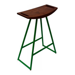 Tronk Design - Roberts Bar Stool Walnut No Inlay, Green - This sleek stool has a thin carved wooden seat that rests on a steel tubing base. The elegant seat is curved for seamless comfort while displaying a stunning intersecting diagonal accent inlay. This eye-catching and durable piece will make any kitchen counter, bar or table stand out. The color options for the powder-coated base are red, green, orange, or yellow. Or if you're not quite that daring we also offer white and black. The seat comes in either Walnut with Maple inlayed, Maple with a Walnut inlay, solid Walnut or solid Maple. The Roberts is available in table, counter and bar height.