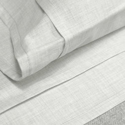 Area - Area Heather Cement Melange Cotton Fitted Sheet - Fancy heathered light grey yarns woven into a soft cotton percale. Subtle pleat detail on flat sheets and cases.
