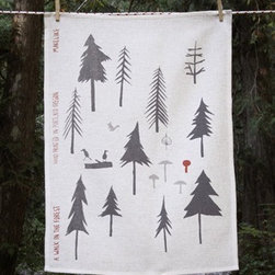 Makelike A Walk In The Forest Tea Towel - The A Walk In The Forest Tea Towel by Makelike comes from a true passion for pattern! This three–color tea towel is hand–screenprinted using water–based inks on 100% European linen.