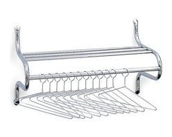 Safco Metal Alpha Wall Coat Rack with Hangers - The Alpha Coat Rack is a contemporary commercial-grade coat rack with 12 non-removable hangers. A convenient shelf provides a spot for hats scarves gloves and more. Mount it to any wall with the included hardware. It's available in your choice of sizes. Size Dimensions: 37-inch rack: 37L x 14W x 19H inches 49-inch rack: 49L x 14W x 19H inches About Safco ProductsSafco products were specifically developed to meet the changing needs of the business world offering real design without great expense. Each product is designed to fit the needs of individuals and the way they work by enhancing comfort and meeting the modern needs of organization in the workplace. These products encourage work-area efficiency and ultimately work-life efficiency: from schools and universities to hospitals and clinics from small offices and businesses to corporations and large institutions airports restaurants and malls. Safco continues to offer new colors new styles and new solutions according to market trends and the ever-changing needs of business life.