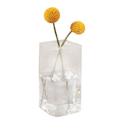 """Glass Box Vase - Square, 5.5"""" - Pluck an autumnal bough from a golden tree, a willow that whispers of soft spring green, a bloom just cut from the garden, and provide a most deserving presentation of its beauty in the Glass Box Vase - Square. The unadorned modular geometric design allows for beauteous display among contemporary or traditional furnishings, whether placed upon a display shelf, accent table, or heirloom sideboard."""