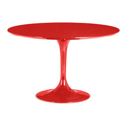 "Tosh Furniture - Lucedale Dining Table Red - The Lucedale table echoes some of the great Mid-century design with its tulip base and bevel edge round top. Its top is glossy painted MDF and its base is glossy coated fiberglass. Red; MDF; Fiberglass Finish; Some assembly required; Dimensions: 47""W x 47""L x 29""H"