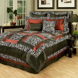 Sherry Kline - Jungle Passage Zebra 8-piece Comforter Set - Features: -Available in Queen or King sizes. -Set includes 1 comforter, 1 bed skirt, 2 shams, 1 boudoir pillow, 1 square pillow and 2 euro shams. -Color: Black, white and red. -Update your bedroom decor with this luxurious comforter set. -Animal pattern print with solid border.