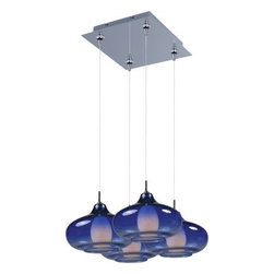 ET2 Lighting - E94748-140PC 4-Light RapidJack Pendant and Canopy Polished w/ Graduating Blue - Minx embodies a collection of show-stopping, conversation-starting pendants that range from simple to chic. Featuring RapidJack, no wire, no hassle installation, available with single, triple, or quadruple Xenon light sources, these Minx pendants boast a variety of finishes, shapes, and functions that suit most any room. For more information on Minx, check out Custom Pendant Systems.