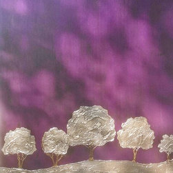 """Majestic Forest"" by Jen Belt, Original Artwork, Textured Mixed Media on Wood - Original artwork created on custom made wooden canvas.  This commissioned work features a smooth, metallic purple sky, washed in black and chocolate brown stain.  The small landscape of trees are sculpted in plasters and finished in brilliant metallic silver and bronze leafing materials.  Love, love, love.  (48""w x 72""h)"
