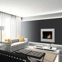 Heat & Glo Modern Series - 6000 Modern shown with modern front in fog gray and black glass media.