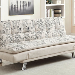 Coaster - Kay French Script Pattern Printed Fabric Sofa - Introducing a bold side into your living room, this sofa sleeper features a french script print for a stunning accent with a cozy, fabric feel. The fold-down seat back brings convenience to the couch, instantly transforming this contemporary piece from a casual couch to a comfy sleeper sofa. Add extra seating with this storage ottoman that also comes with two serving trays for entertaining. Matching chaise #550015 also available.
