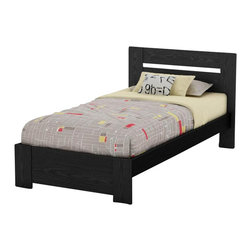South Shore - South Shore Flexible Twin Bed in Black Oak - South Shore - Kids Beds - 3347189 - This Flexible Twin Bed will blend in any contemporary decor due to its rich Black Oak finish. Wide panels are attached to the end of the bed to evoke legs. This bed is a good choice for the value-conscious as it does not require a box spring. Combine it with any other Flexible item to create a perfectly tailored space. Its weight capacity is 250 pounds and is compatible with a standard twin mattress. It includes the headboard the footboard and the base. Mattress and accessories not included.