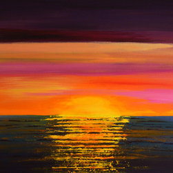 """Who Taught The Sun (Original) by Linda Bailey - This painting is from my Horizon series. It is an original one of a kind painting created with acrylic paint on a gallery wrapped canvas. The canvas depth is 1.5"""" and the edges are painted black. This bright, fabulous sunset painting is ready for frame-free hanging. If you prefer to do so, this painting can be framed.  An archival UV-resistant, fine art satin varnish has been applied to protect the surface of the painting."""