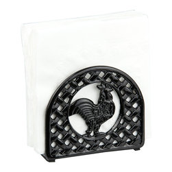 home basics - Black Rooster Napkin Holder - Bring farmland fun to your kitchen décor with this napkin holder highlighted by a charming rooster motif.   5.5'' W x 4.75'' H x 2'' D Cast iron Imported
