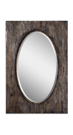 Uttermost - Hichcock Distressed Oval Mirror - Frame features a heavily distressed and antiqued, natural wood tone finish with burnished distressing.