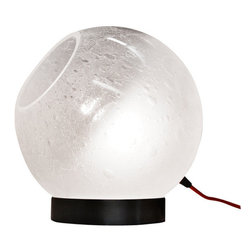"Ridgely Studio Works - GLOBE Table Lamp, 8""dia, Black Cord, 8""dia - The Globe Table Lamp is composed of a hand blown seeded glass sphere with a frosted finish. The fixture elegantly sits on top of a rolled brushed steel base."
