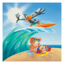 Oriental Furniture - Daffy and Porky Surf's Up Wall Art - Daffy Duck rides a wave right onto Porky the Pig's tropical vacation in this lively art print. The authentic, authorized Looney Tunes image is professionally reproduced from the original cartoon graphic in the giclee style and stretched over a mitered wood frame.