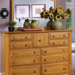 Vaughan Bassett - Triple Dresser & Landscape Mirror Set in Pine - Includes triple dresser and landscape mirror. Triple dresser:. 9 Drawers. 58 in. W x 18 in. D x 44 in. H. Landscape mirror: 42.5 in. L x 2 in. W x 38 in. H. Pine finish. Assembly required
