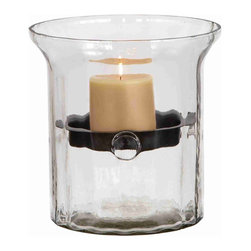 None - Glass Metal Candle Holder Clear Glass Case - Provide a cozy and mellow ambiance to home decor with this metal candle holder in a clear glass case. With a metal candle holder affixed midway through the glass case's inside,the candle almost seems to float in mid-air.