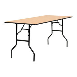 Flash Furniture - 72 in. Rectangular Folding Banquet Table - Thick plywood top. Black t mold edge band. Black powder coated wishbone legs. 18 gauge steel legs. Non marring foot caps. Supplier warranty: Our products have a 2 year warranty for parts. This warrants against defects in manufacturing. If the products are used excessively (more than 8 hours/day), and have excessive weight (over 225 lbs.) applied, the warranty is void. New parts will be sent out, or the item will be replaced at our discretion.. Made from steel and wood. No assembly required. 72 in. L x 30 in. W x 30.25 in. H