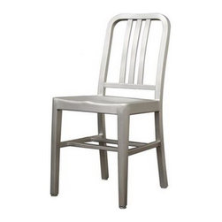 Wholesale Interiors - Modern Cafe Chair in Brushed Aluminum - There is no reason to restrict contemporary furniture to the indoors enjoy it al fresco on your deck, patio, or restaurant with the Cafe Chair. Made of lightweight, versatile brushed aluminum, these chairs can be easily moved and will stand up to the elements of the outdoors. The simple design lends itself well to just about any type of setting. Plastic non-marking feet finish off the legs and provide additional stabilization. The Cafe Chair is fully assembled and is also available as a bar stool.