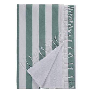 Nine Space - Deck Beach Towel, Teal - Hit the decks in style with this super absorbent towel that's beach friendly and ready to make waves. Woven from smooth Turkish cotton, its showy stripes repel sand. The flip side is a heavier weight cotton terry that's oh so soft.